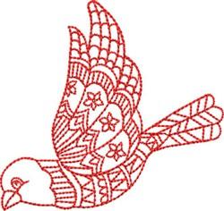Redwork Songbird embroidery design