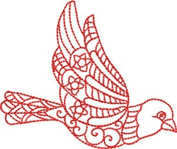 Redwork Songbird embroidery design