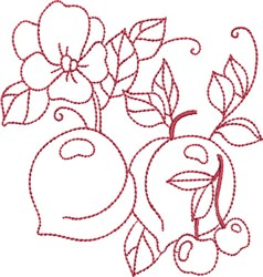 Redwork Peaches embroidery design