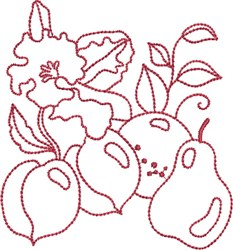 Redwork Fruits embroidery design