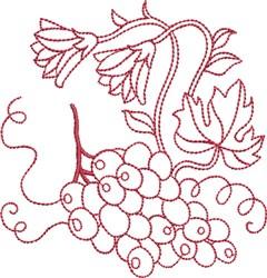 Redwork Grapes embroidery design