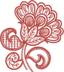 Redwork Paisley Flower embroidery design