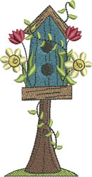 Vine Wrapped Birdhouse embroidery design