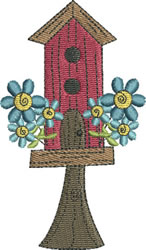 Two Story Birdhouse embroidery design
