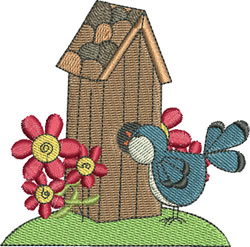 Shingled Roof Birdhouse embroidery design