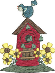 Roof Top Birdhouse embroidery design