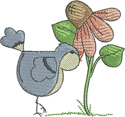 Birdie with Flower embroidery design