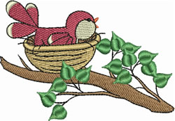Bird in Nest embroidery design