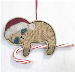 ITH Sloth Candy Cane Holder 1 embroidery design