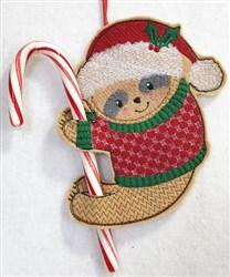 ITH Sloth Candy Cane Holder 3 embroidery design