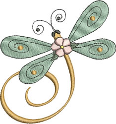 Pink Flower Dragonfly embroidery design
