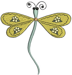 Green Flower Dragonfly embroidery design