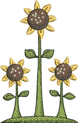 Three Sunflowers embroidery design
