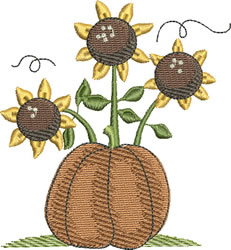Sunflowers & Pumpkin embroidery design