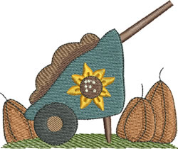 Sunflower Wheelbarrow embroidery design