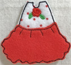 Dress 5 for Small Felt Paperdoll embroidery design