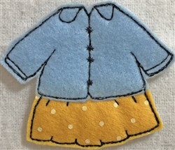 Dress 7 for Small Felt Paperdoll embroidery design
