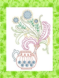 ITH Spring Watering Can Mug Rug 1 embroidery design