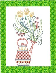 ITH Spring Watering Can Mug Rug 2 embroidery design