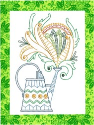 ITH Spring Watering Can Mug Rug 3 embroidery design