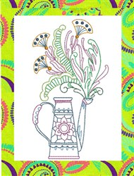 ITH Spring Watering Can Mug Rug embroidery design