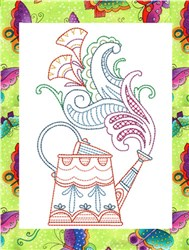 ITH Spring Watering Can Mug Rugs 5 embroidery design