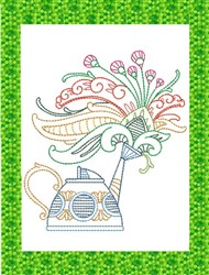 ITH Spring Watering Can Mug Rug 6 embroidery design