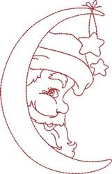 Santa InThe Moon embroidery design
