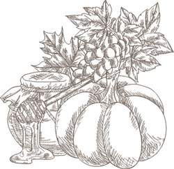Sketched Fall Harvest embroidery design
