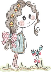 Sketched Girl 1 embroidery design