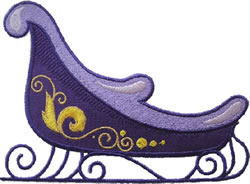 Purple Sleigh Applique embroidery design