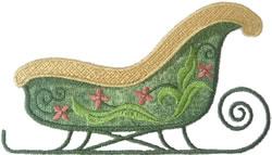Green Sleigh Applique embroidery design