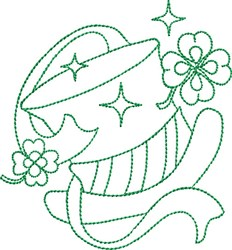 St Patricks Top Hat embroidery design