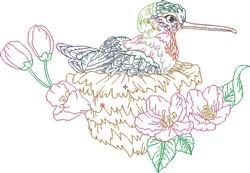 Hummingbird On Nest embroidery design