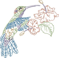 Flowers & Hummer embroidery design