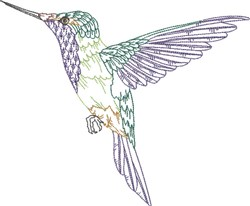 Flying Hummingbird embroidery design