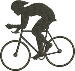 Cyclist Silhouette embroidery design
