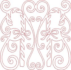 Candy Canes Quilt Block embroidery design