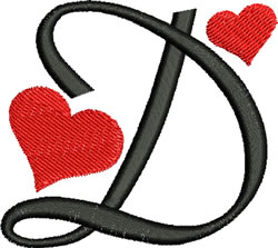 Sweetheart D embroidery design