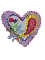 Sew Cute Applique Heart with Paisley embroidery design