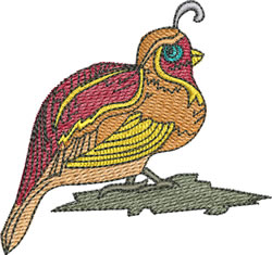 Colorful Quail embroidery design