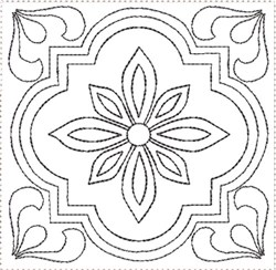 ITH Painted Tile Quilt Block 1 embroidery design