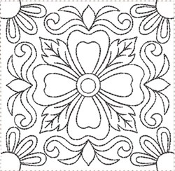 ITH Painted Tile Quilt Block 6 embroidery design