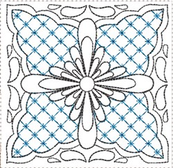ITH Painted Tile Quilt Block 12 embroidery design