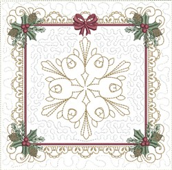 ITH Snowflake Christmas Quilt Block embroidery design