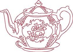 Tea Time Redwork embroidery design