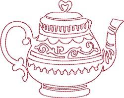 English Tea Redwork embroidery design