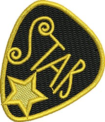 Star Guitar Pick embroidery design