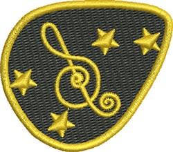 Staff Guitar Pick embroidery design