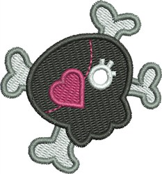 Heart Eye Patch Skull embroidery design